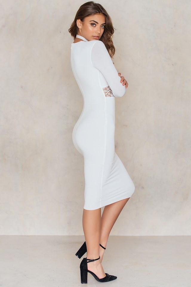 Rebel Heart Long Sleeve Midi Dress Ivory