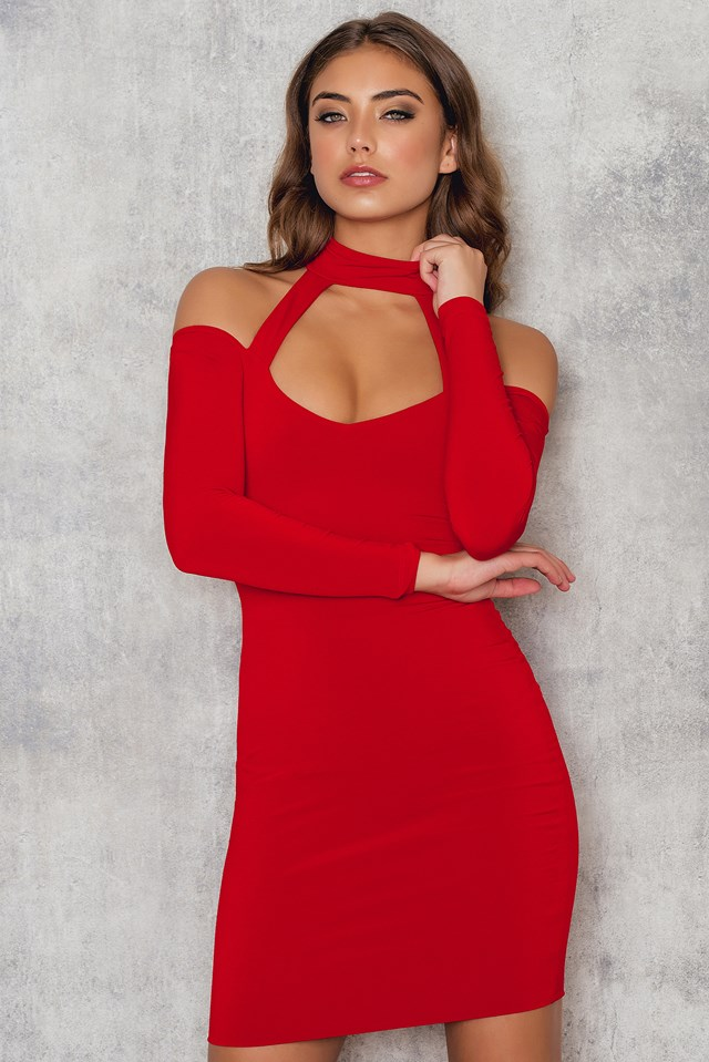 Girl Talk Off Shoulder Mini Dress Red