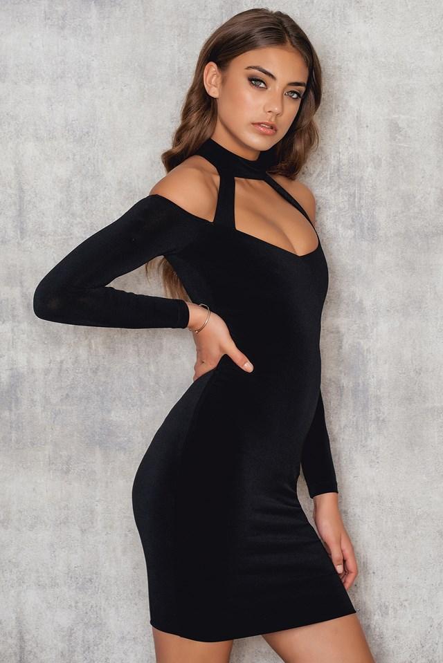 Girl Talk Off Shoulder Mini Dress Black