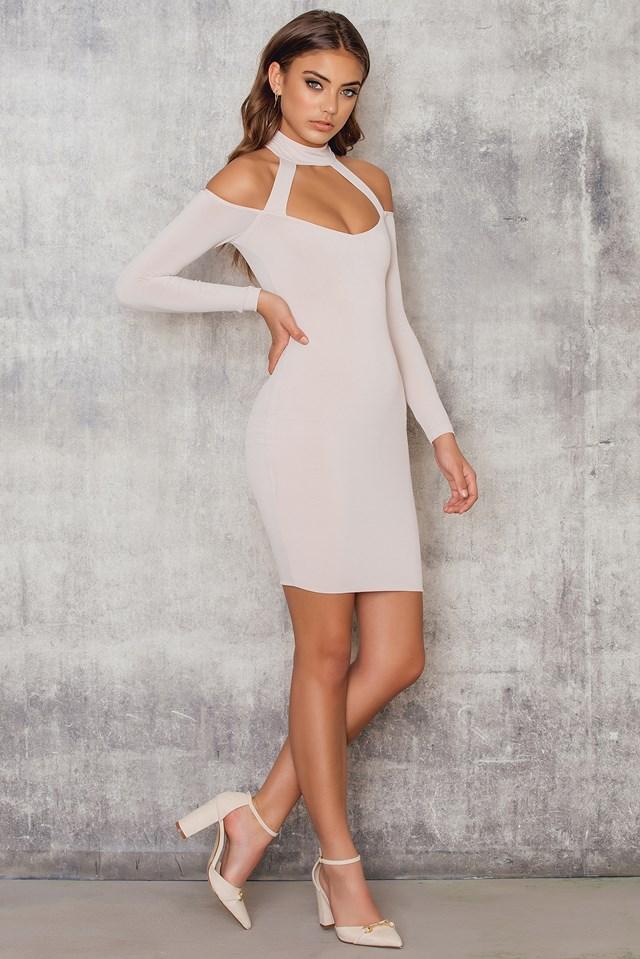 Girl Talk Off Shoulder Mini Dress Nude