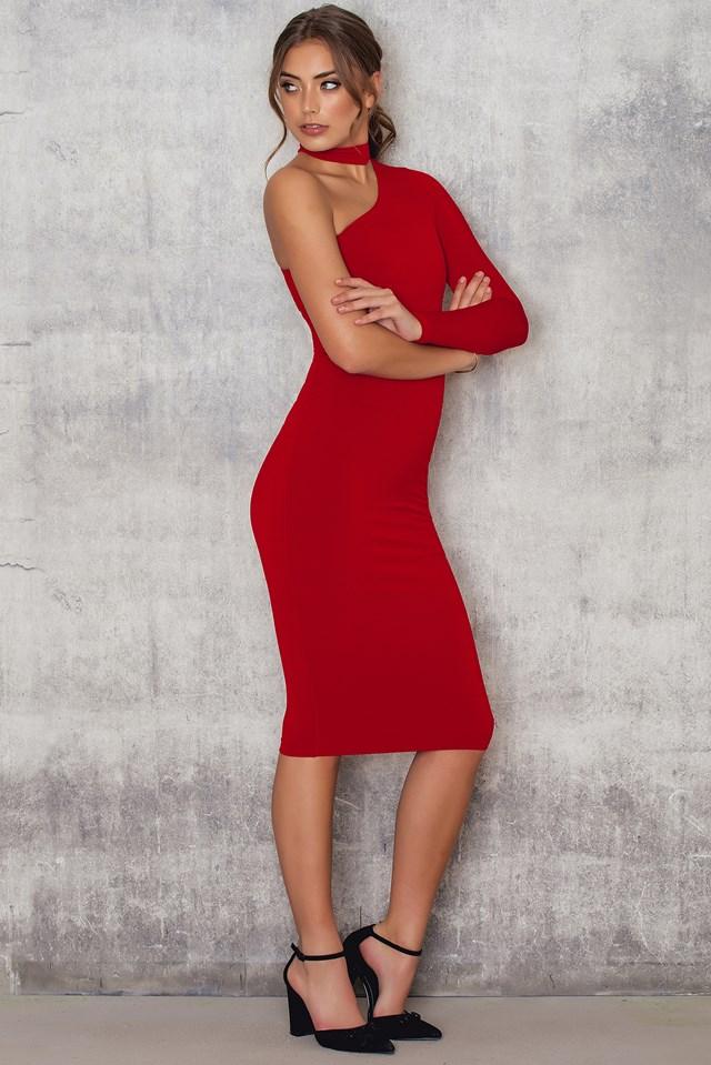 Girl Talk One Shoulder Midi Dress Red