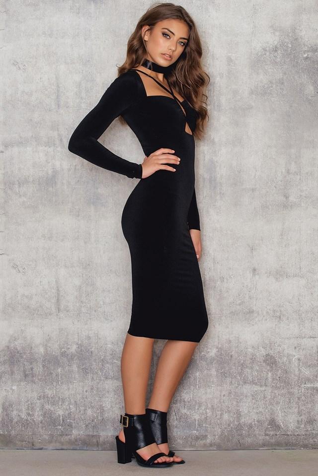 Lucky Star Long Sleeve Midi Dress Black