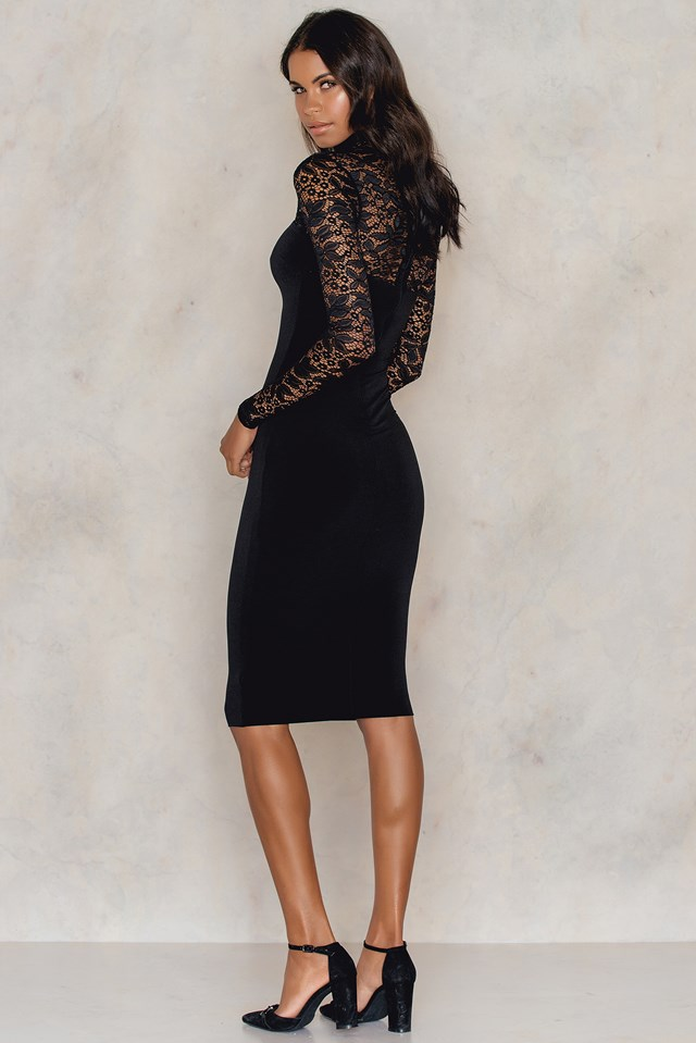 Rebel Heart High Neck Midi Dress Black