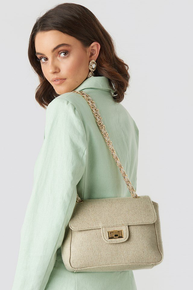 Cross Body Chain Detailed Bag Beige