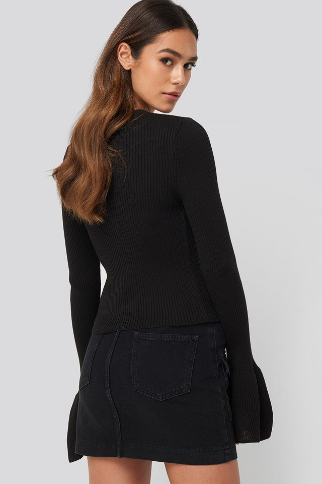 Flared Cuff Ribbed Top Black