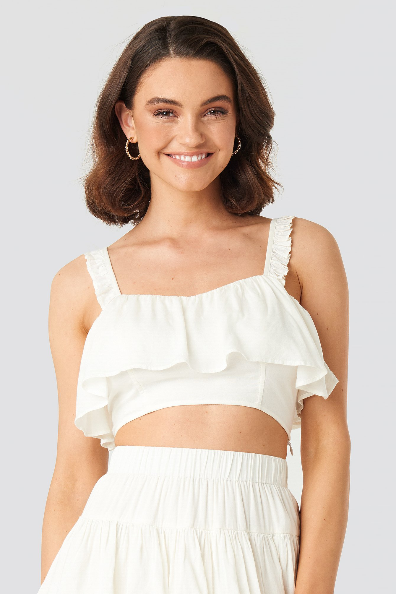 Queen Of Jetlags X Na-kd Frill Detailed Cropped Singlet White In Off White