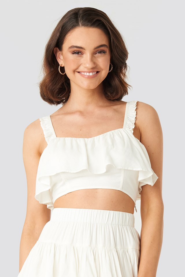 Frill Detailed Cropped Singlet Off White