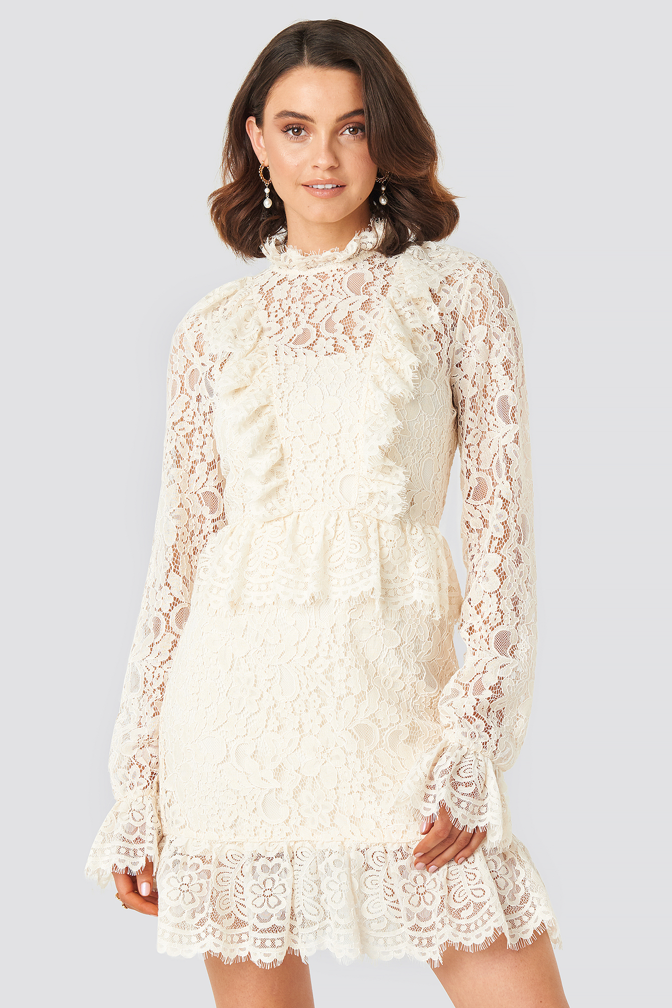 Queen Of Jetlags X Na-kd Frill Detailed Mini Lace Dress White In Off White