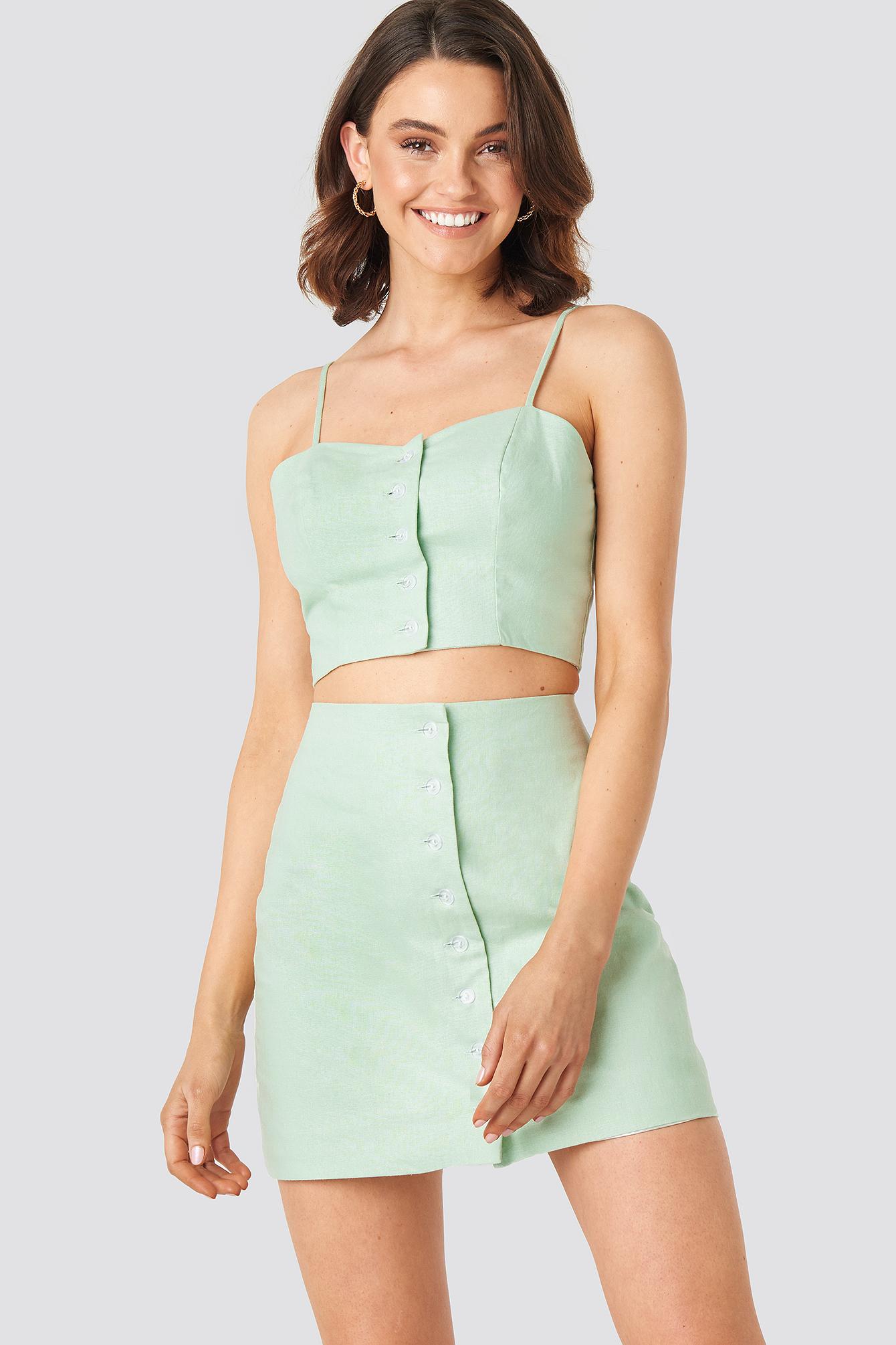 queen of jetlags x na-kd -  Front Button Linen Mix Skirt - Green