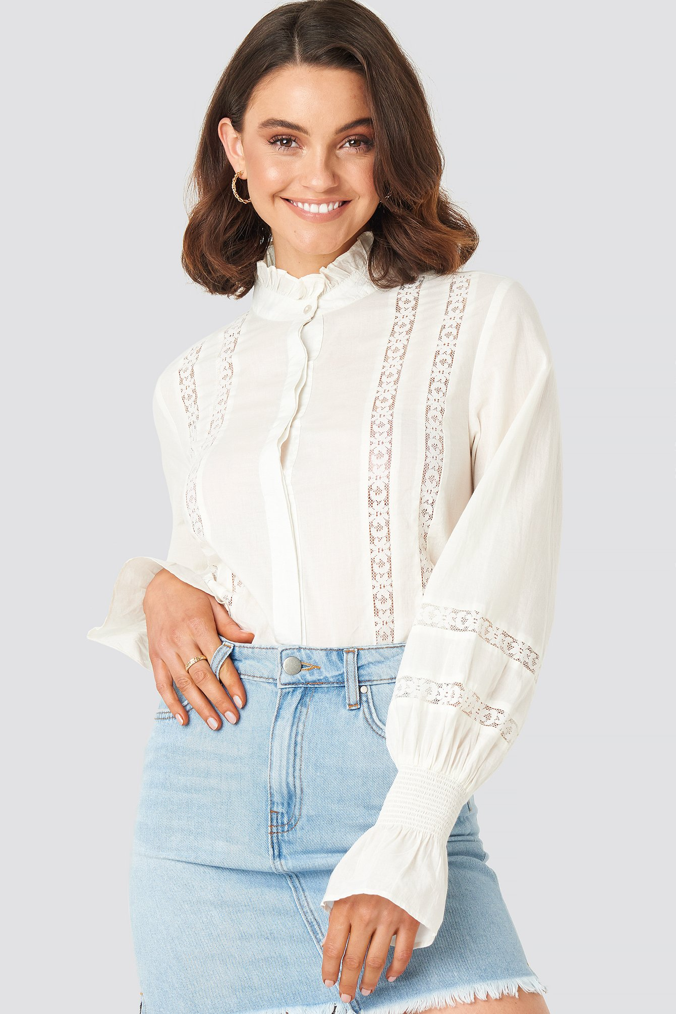 Queen Of Jetlags X Na-kd Lace Detail Puffy Blouse White In Off White