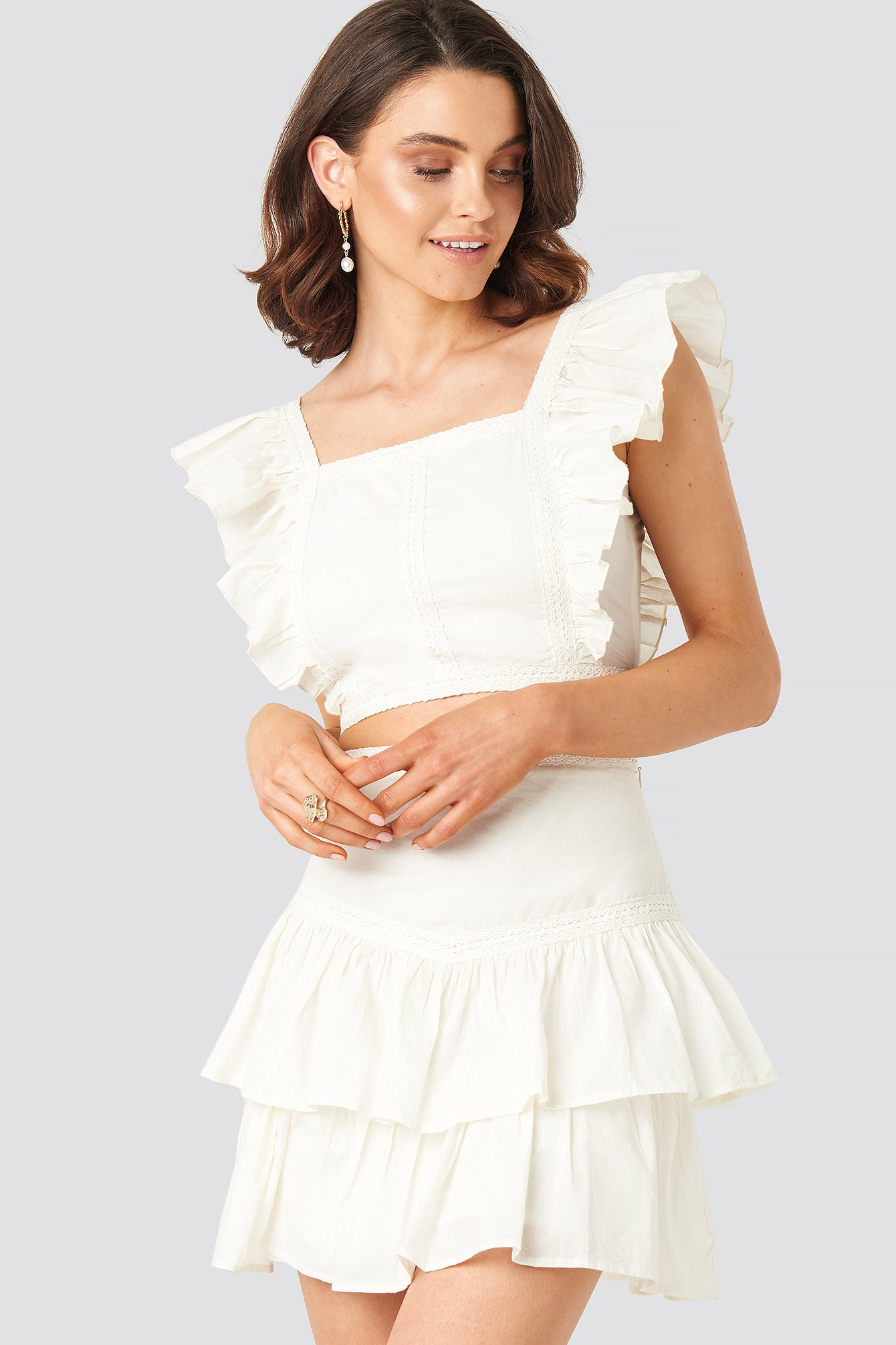 Queen Of Jetlags X Na-kd Lace Detailed Frill Mini Skirt - White In Off White
