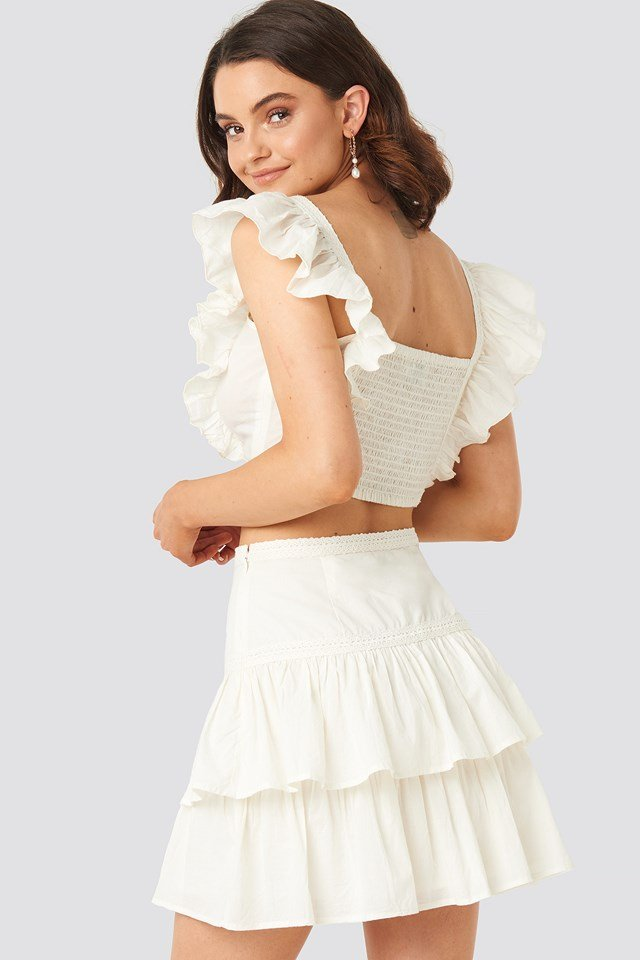 Lace Detailed Frill Mini Skirt Off White
