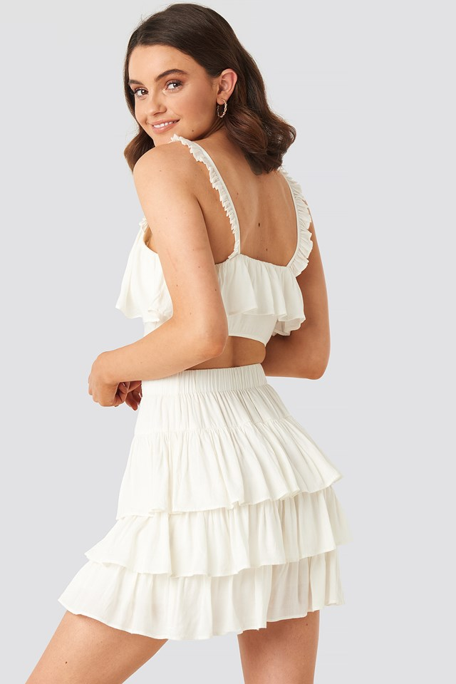 Layered Frill Mini Skirt Off White