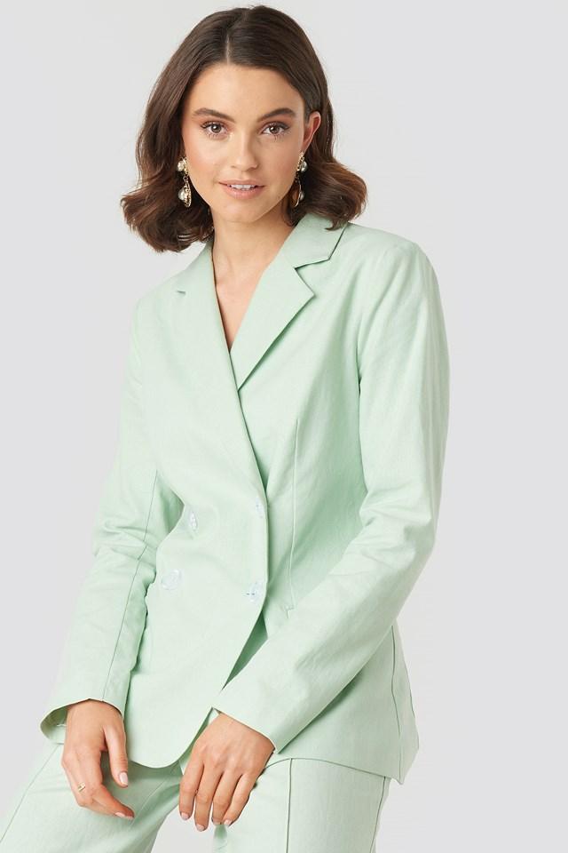 Linen Mix Casual Blazer Dusty Light Green