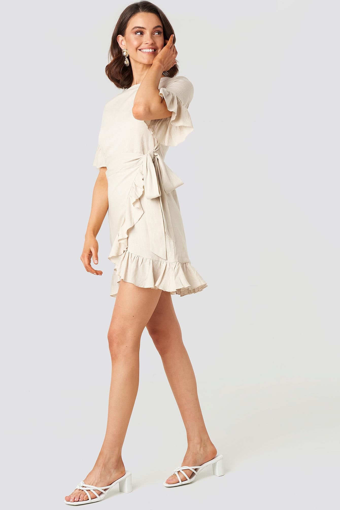 Queen Of Jetlags X Na-kd Linen Mix Frill Detailed Dress - Beige