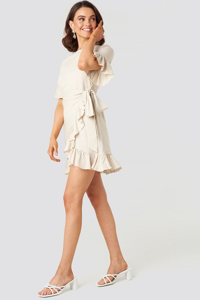 Linen Mix Frill Detailed Dress Beige