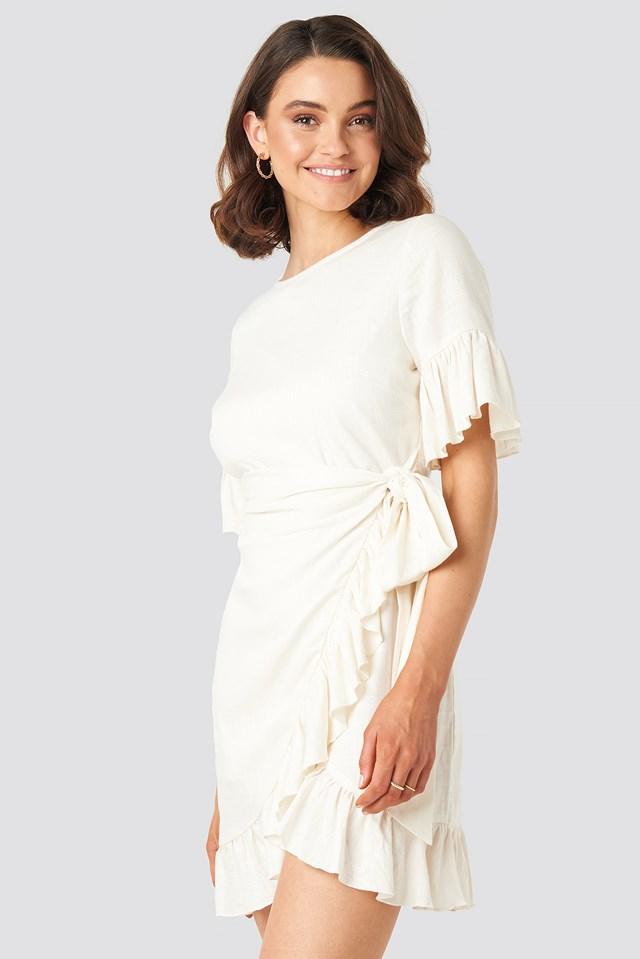 Linen Mix Frill Detailed Dress Queen of Jetlags x NA-KD