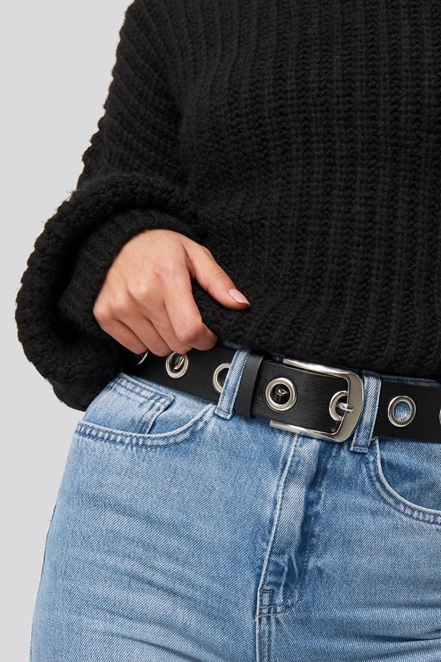 Ring Detail belt Black/Silver
