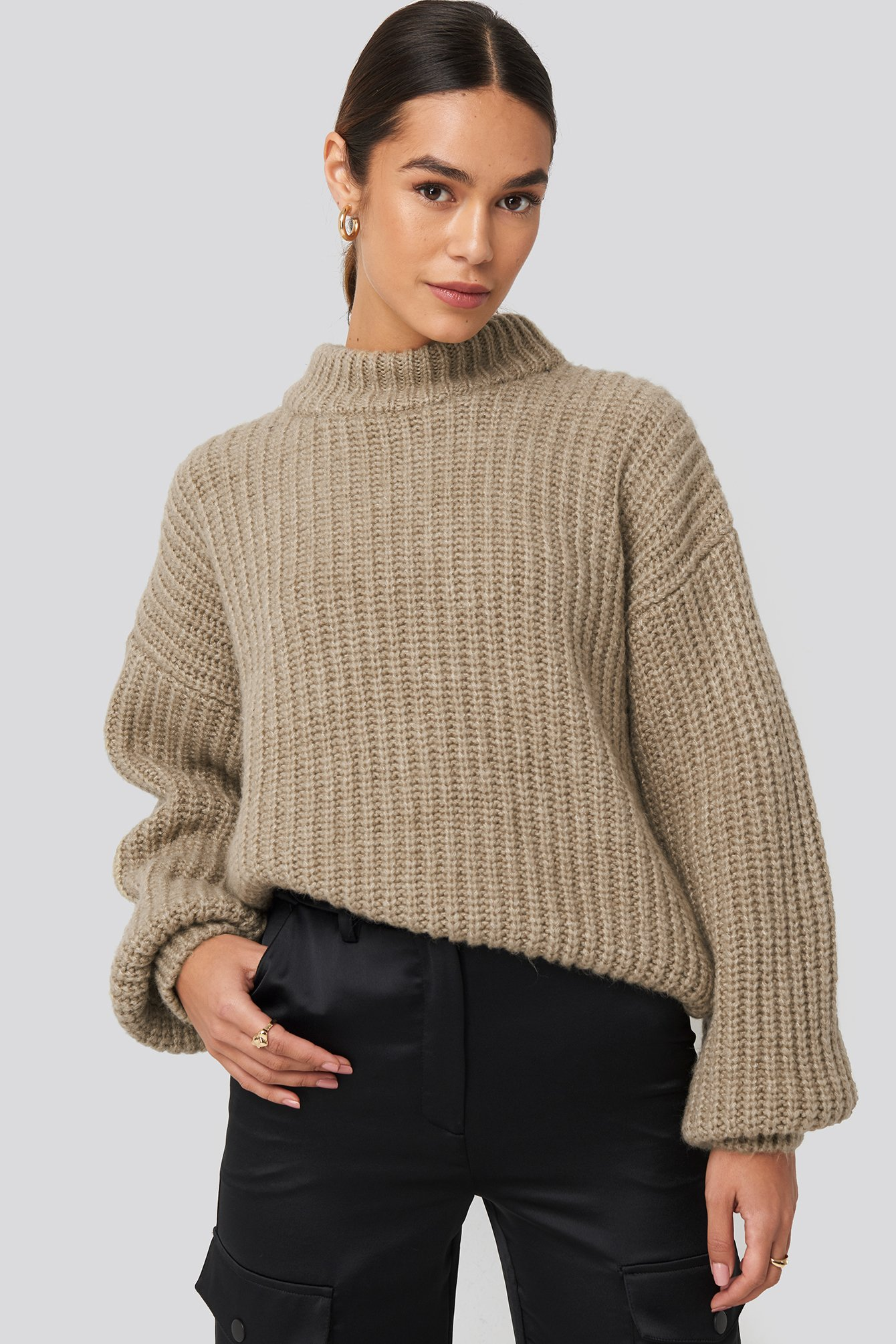 Queen Of Jetlags X Na-kd Round Neck Knitted Sweater - Beige