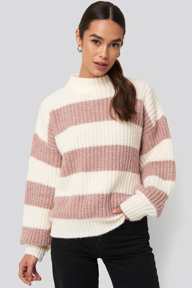 Striped Oversized Knitted Sweater White/Pink