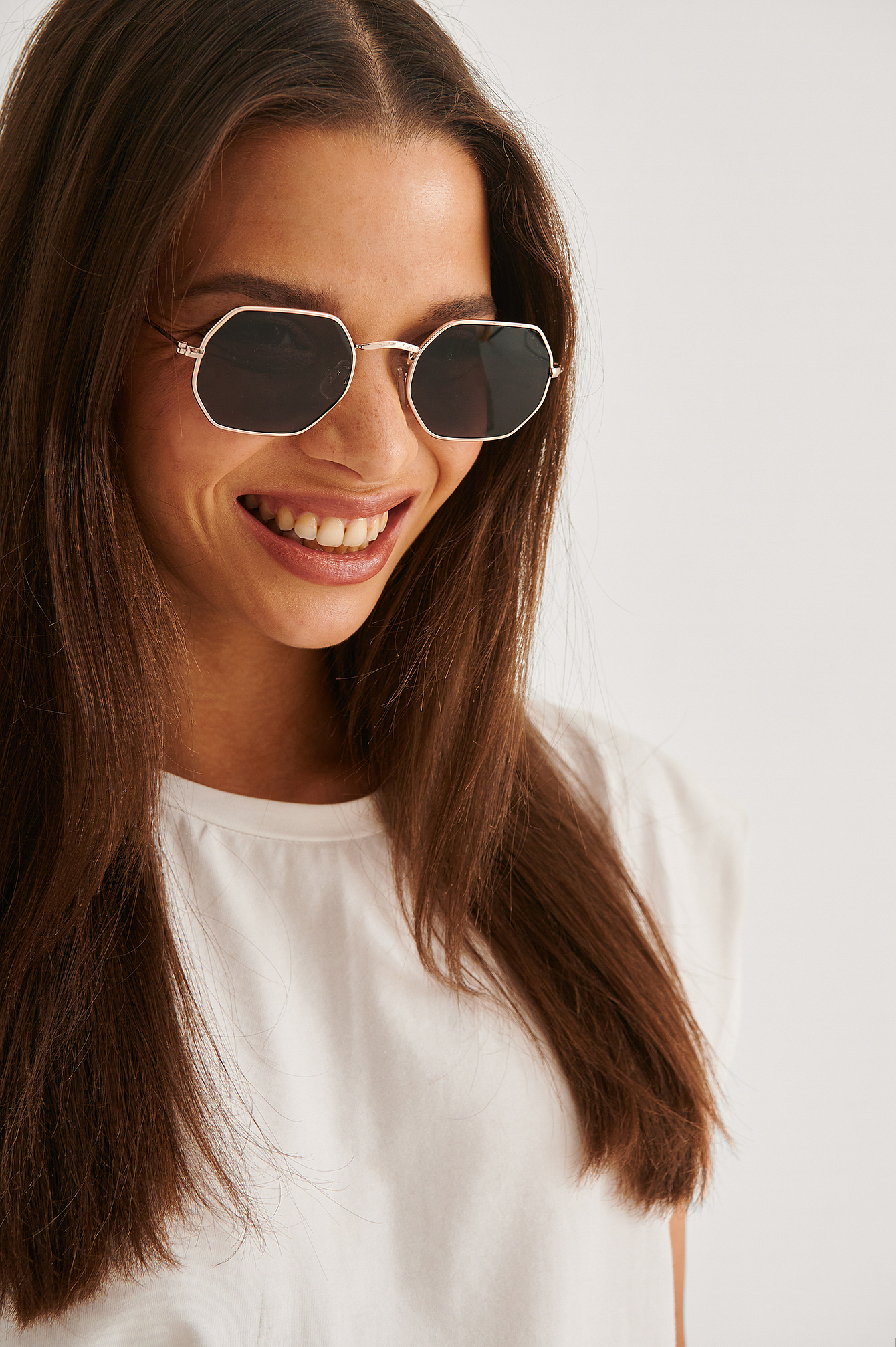 na-kd accessories -  Octagon Frame Sunglasses - Black