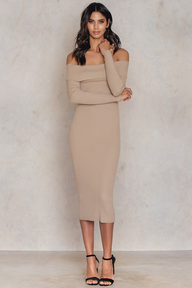 Offshoulder Ribbed Knitted Midi Slit Dress Camel