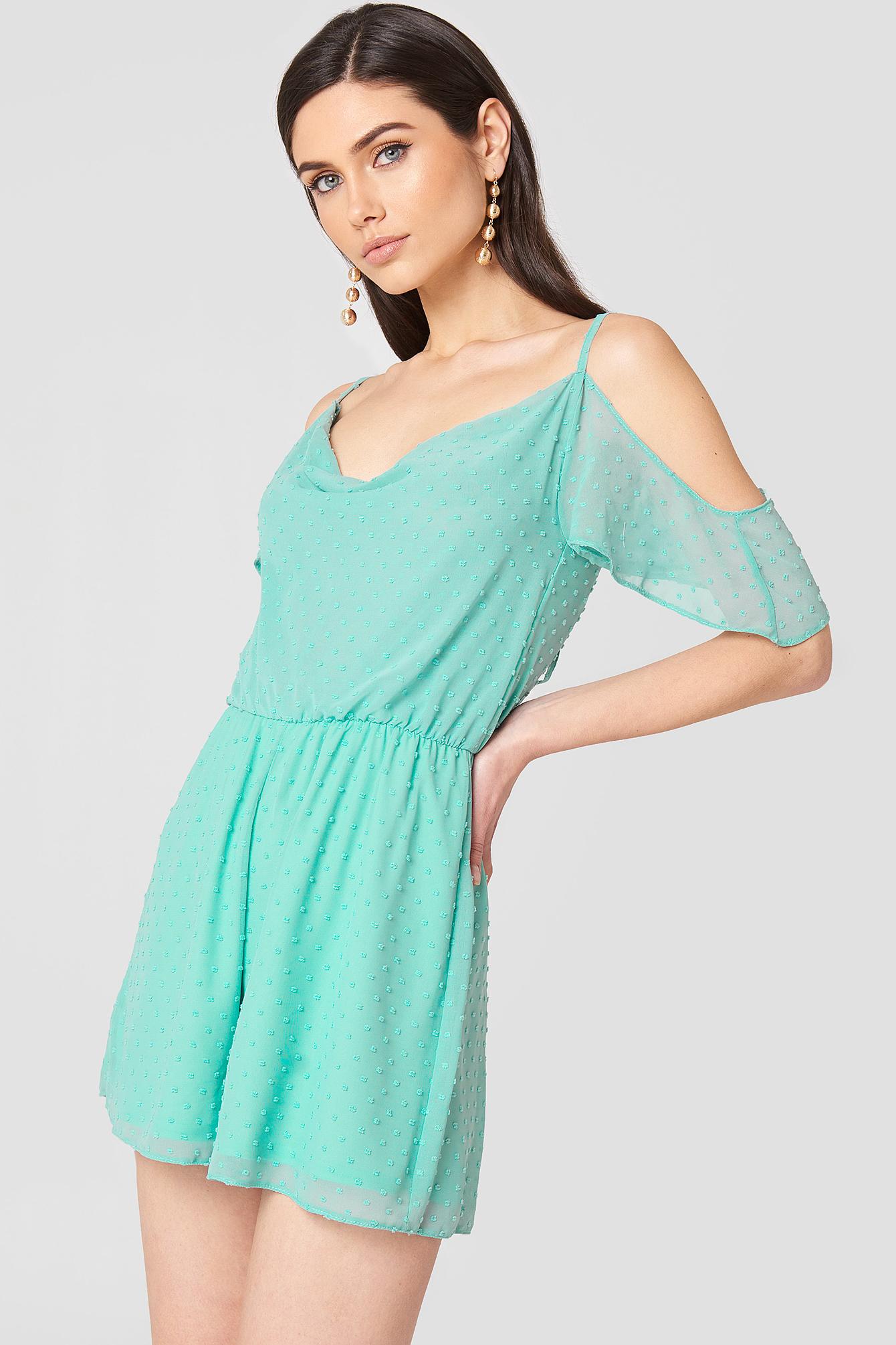 COLD SHOULDER DRESS - GREEN, TURQUOISE