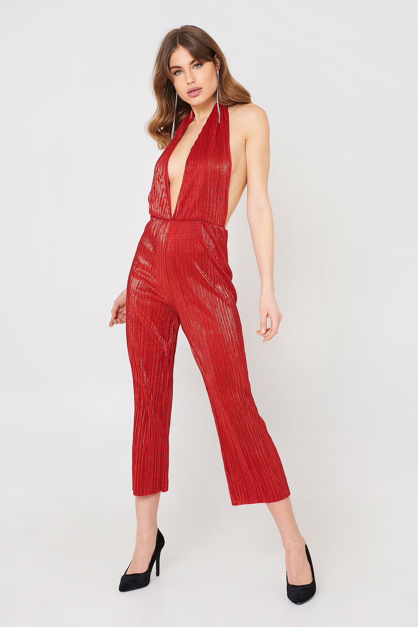 Pleat Plunge Culotte Jumpsuit NA-KD.COM