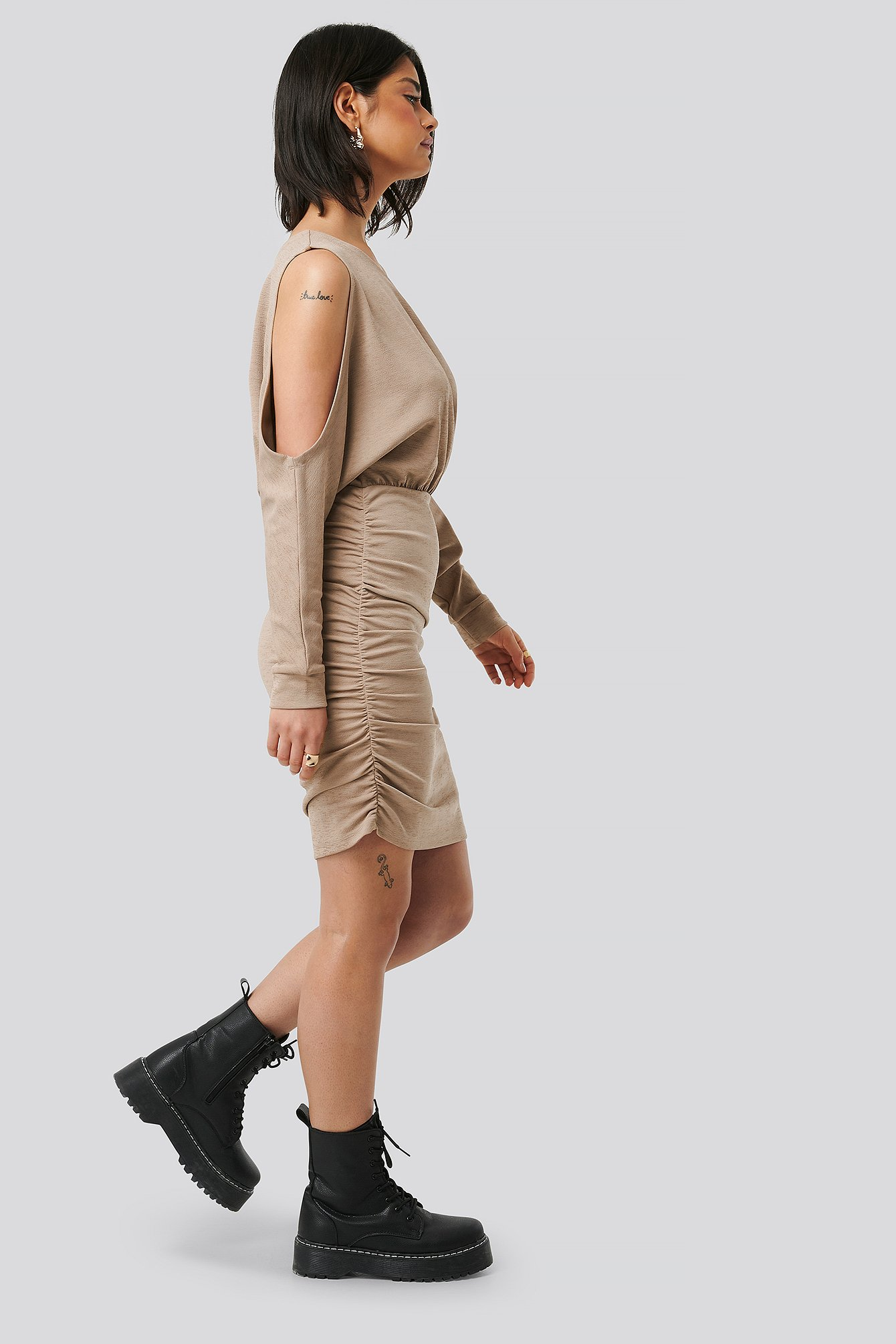 Nougat Draped Bare Shoulder Dress