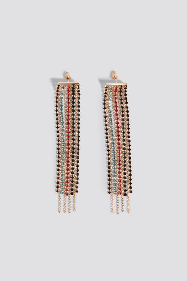 Colorful Rhinestone Chain Earrings Multicolor