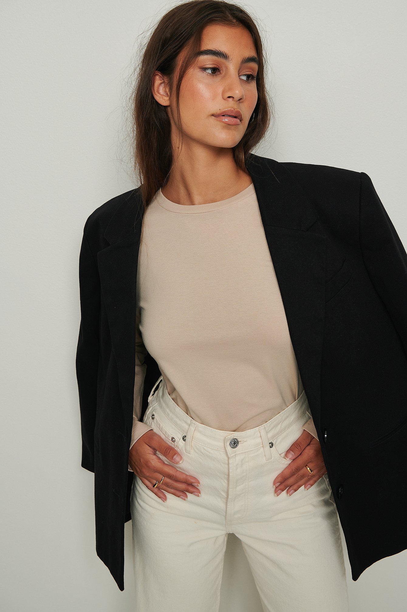 na-kd basic -  Oversized Longsleeve-Shirt Aus Ökologischem Material - Beige