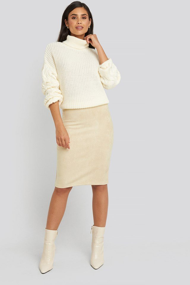 Faux Suede High Waist Skirt Beige Outfit