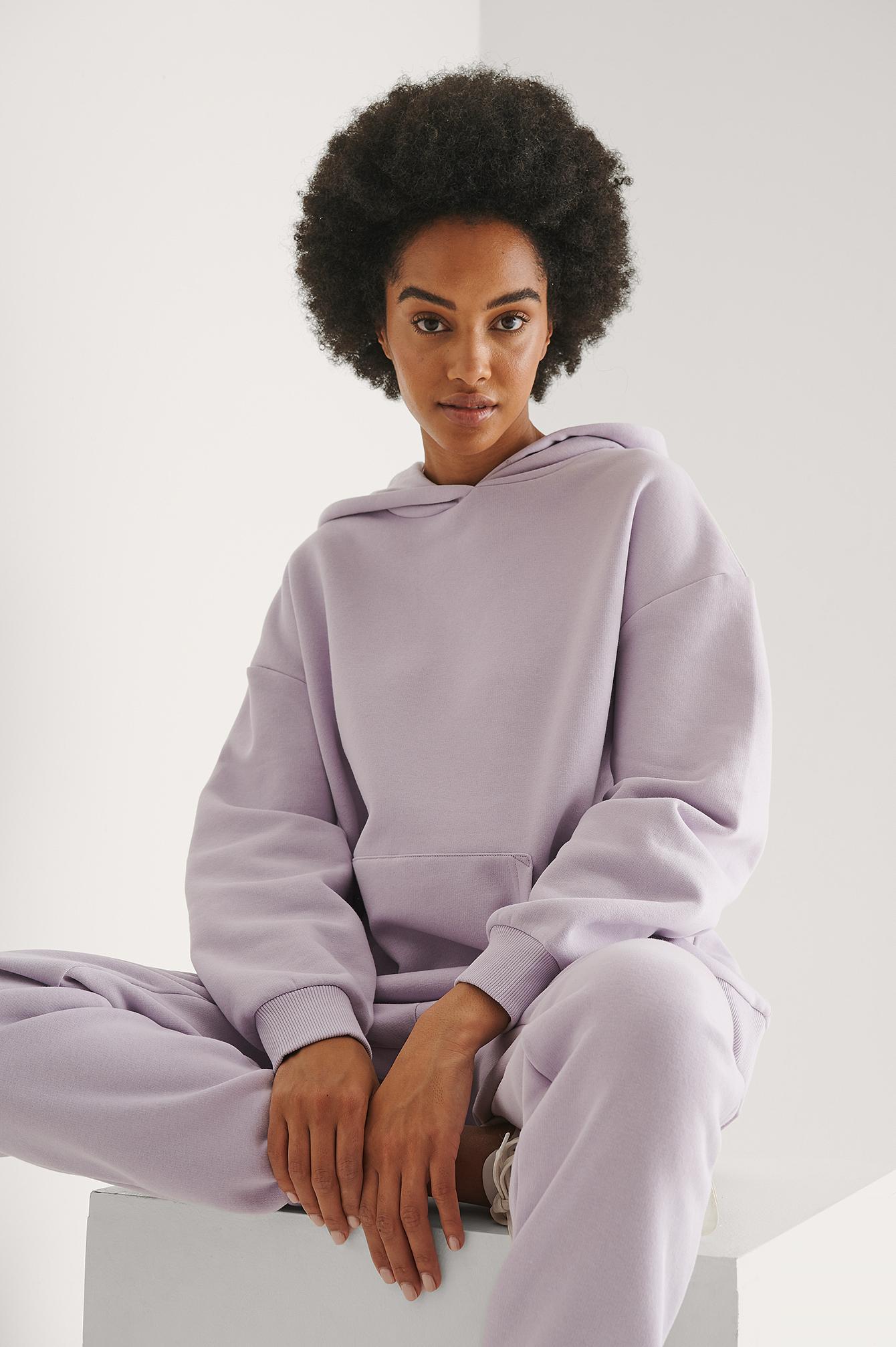 NA-KD Trend Økologisk Hættetrøje I Overstørrelse Med Lomme - Purple