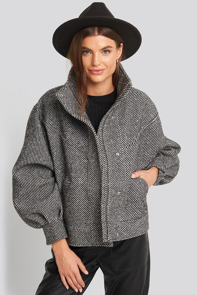 Oversized Printed Jacket Black