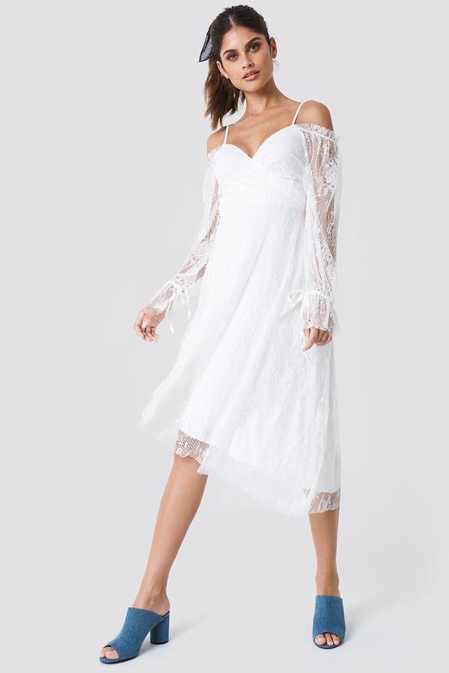 Asymmetric Lace Midi Dress NA-KD.COM