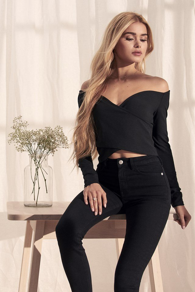 Bardot Wrap Front Crop Top Black