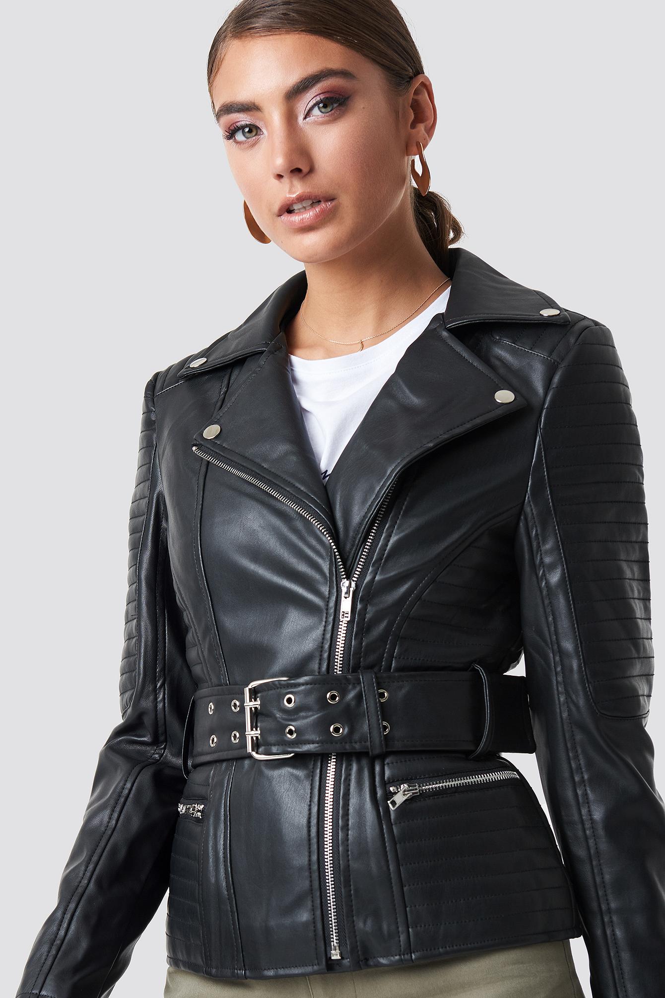 pamela x na-kd -  Belted Faux Leather Jacket - Black