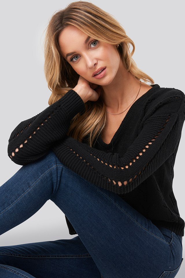 Deep V-Neck Lace Stitch Sweater Black