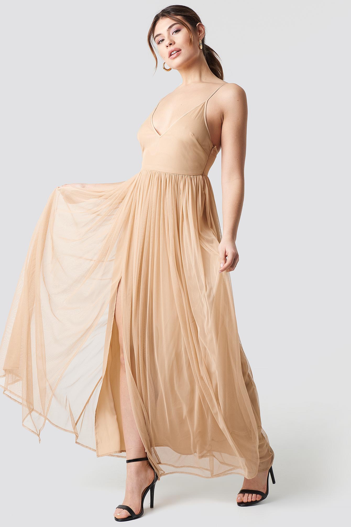 Front Slit Flowy Dress NA-KD.COM