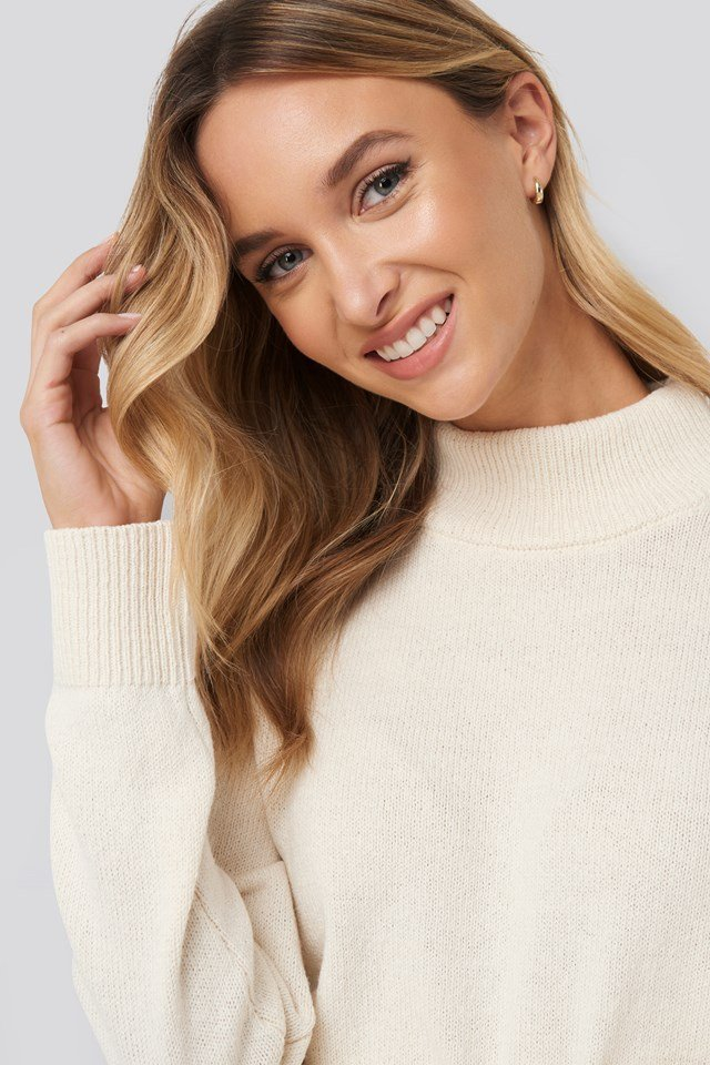 High Neck Sweater White
