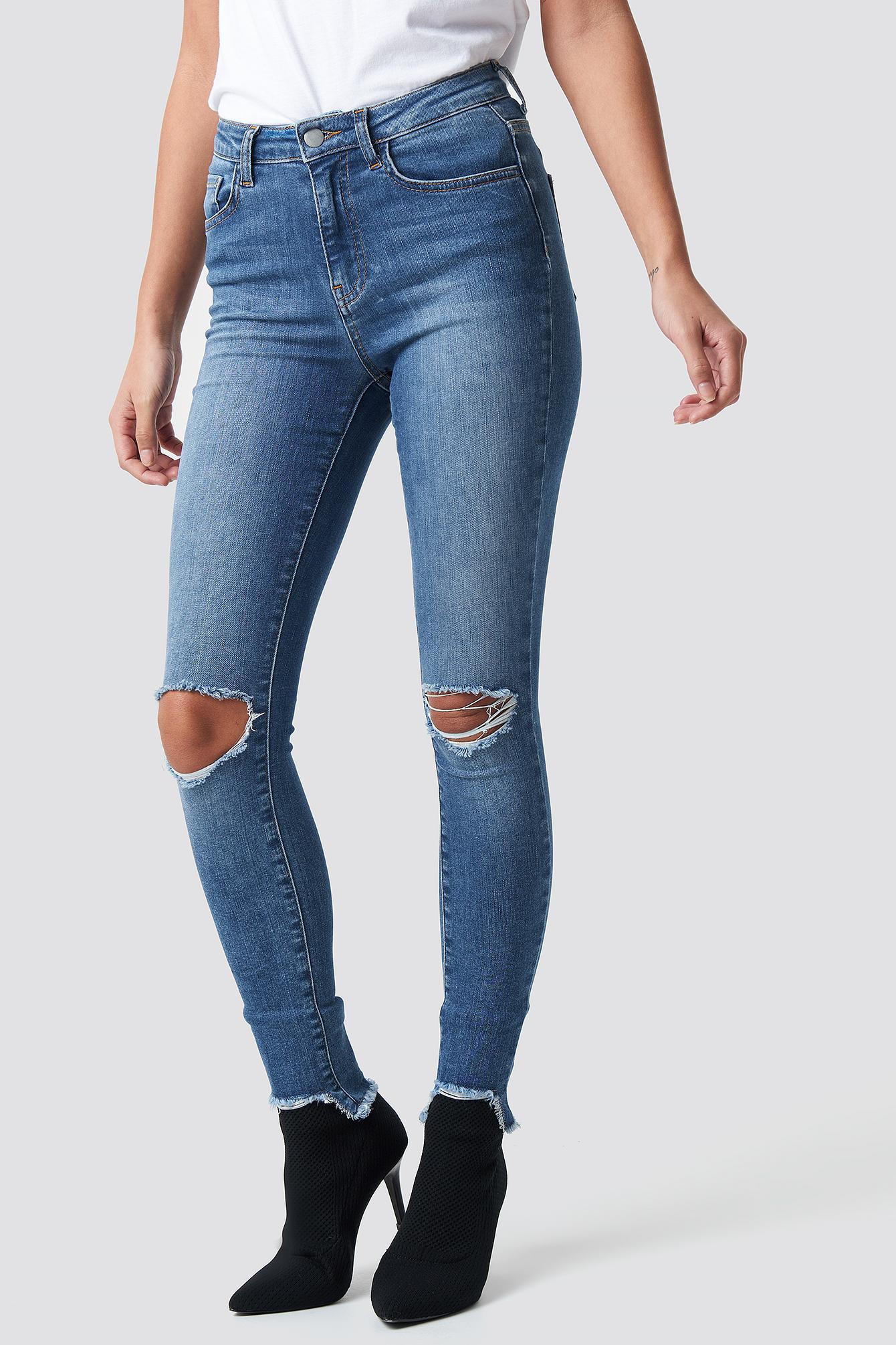 High Waist Ripped Jeans NA-KD.COM