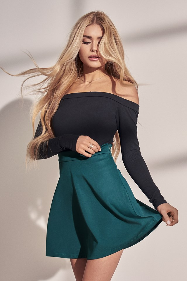 High Waist Skater Mini Skirt Green
