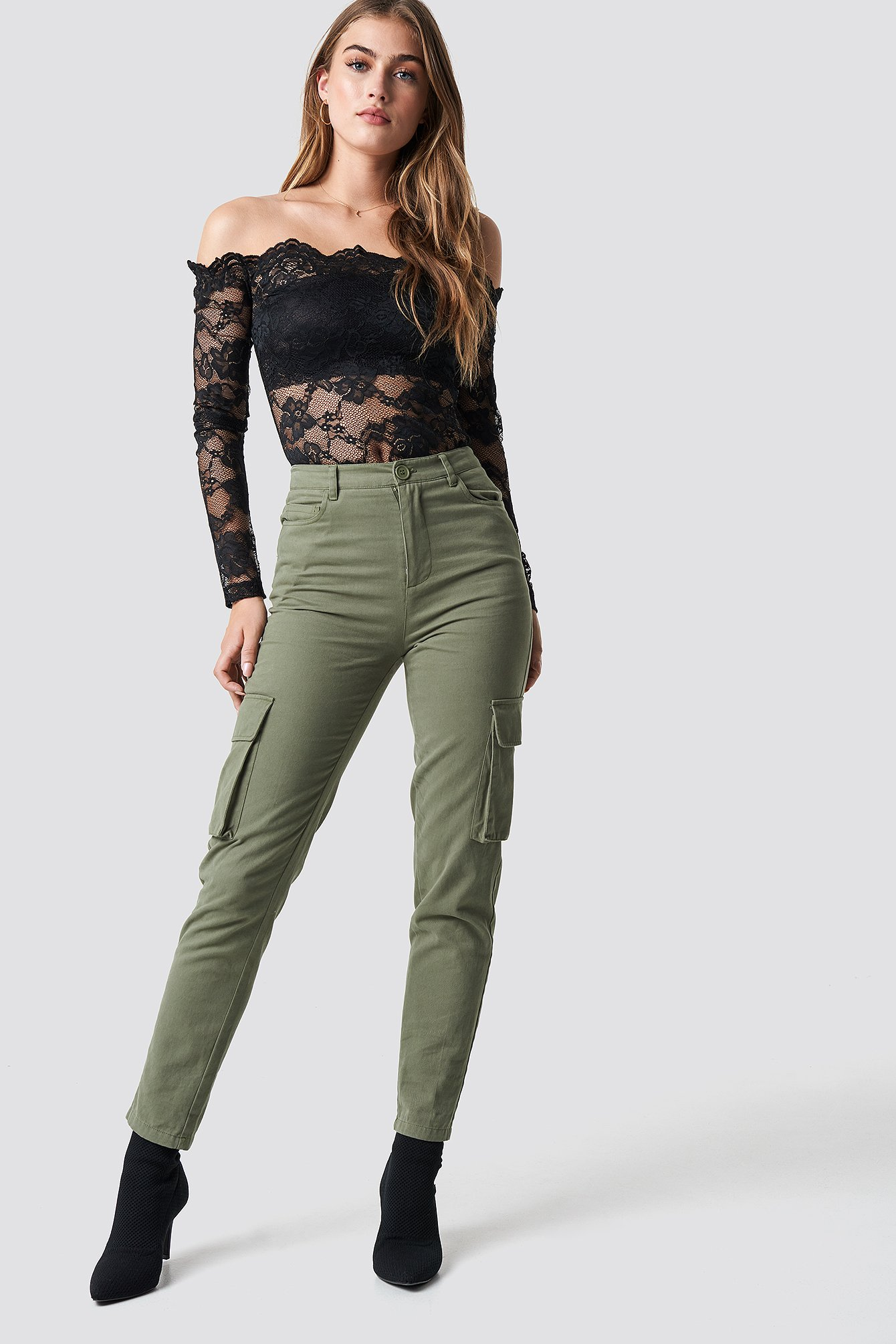High Waist Slim Army Pants Grøn by Pamelaxnakd