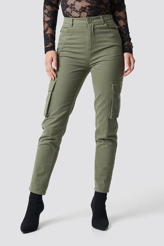 High Waist Slim Army Pants Khaki
