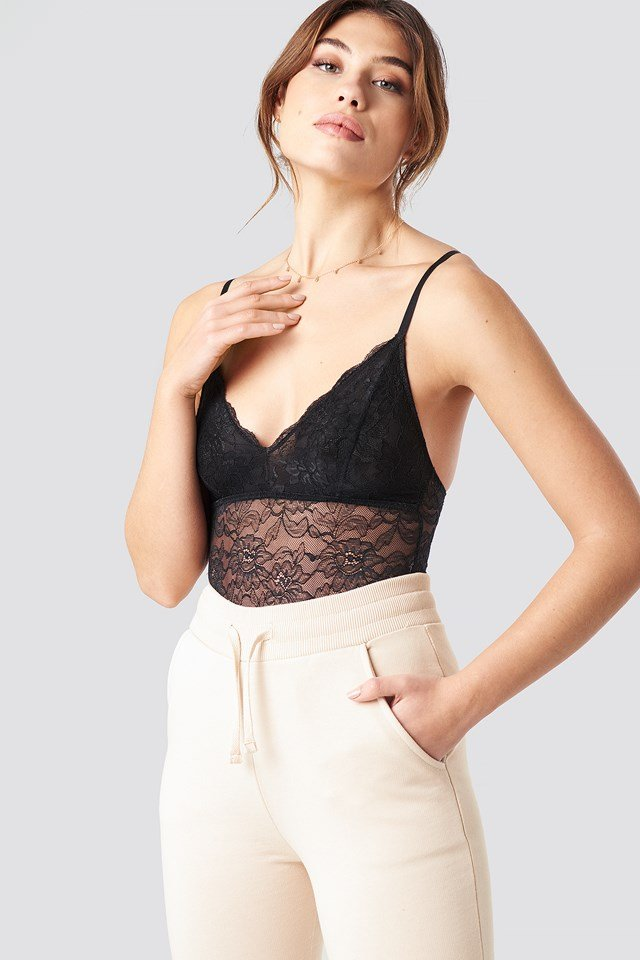 Lace Bodysuit Black