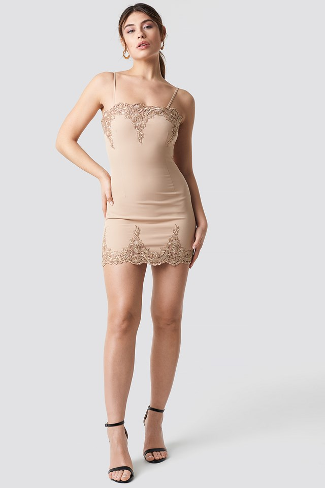 Lace Detailed Bodycon Dress Nude