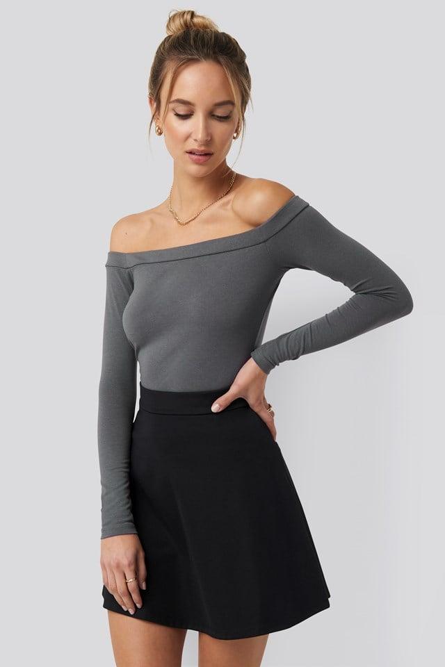 Long Sleeve Bardot Top Grey