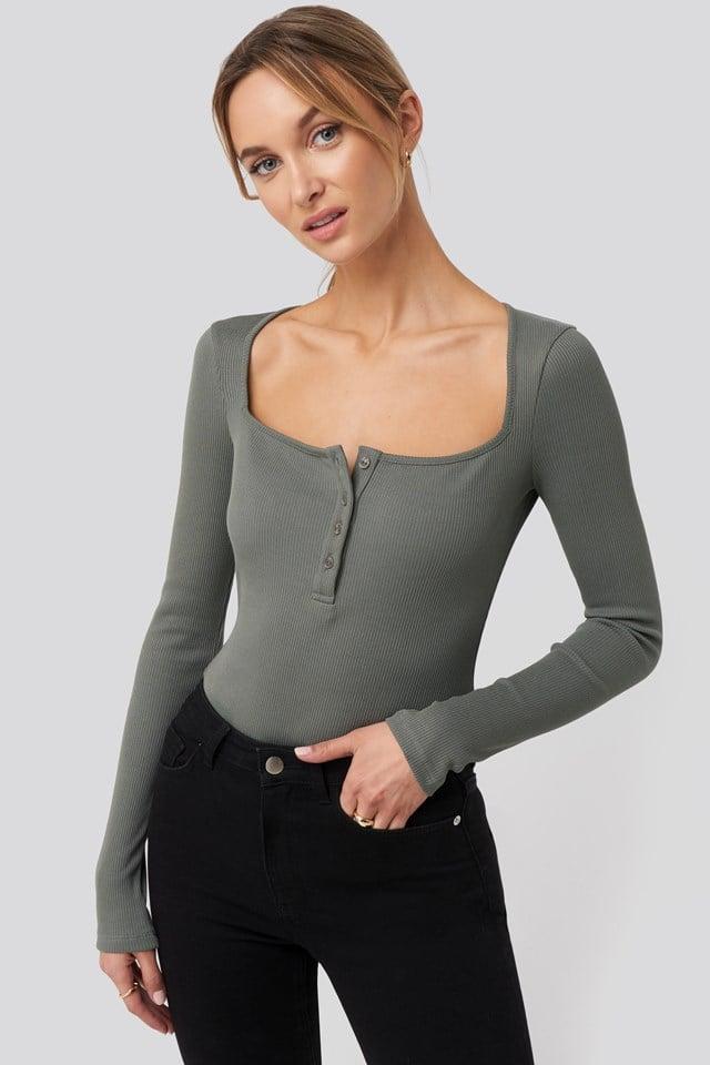 Long Sleeve Button Detail Bodysuit Dark Grey