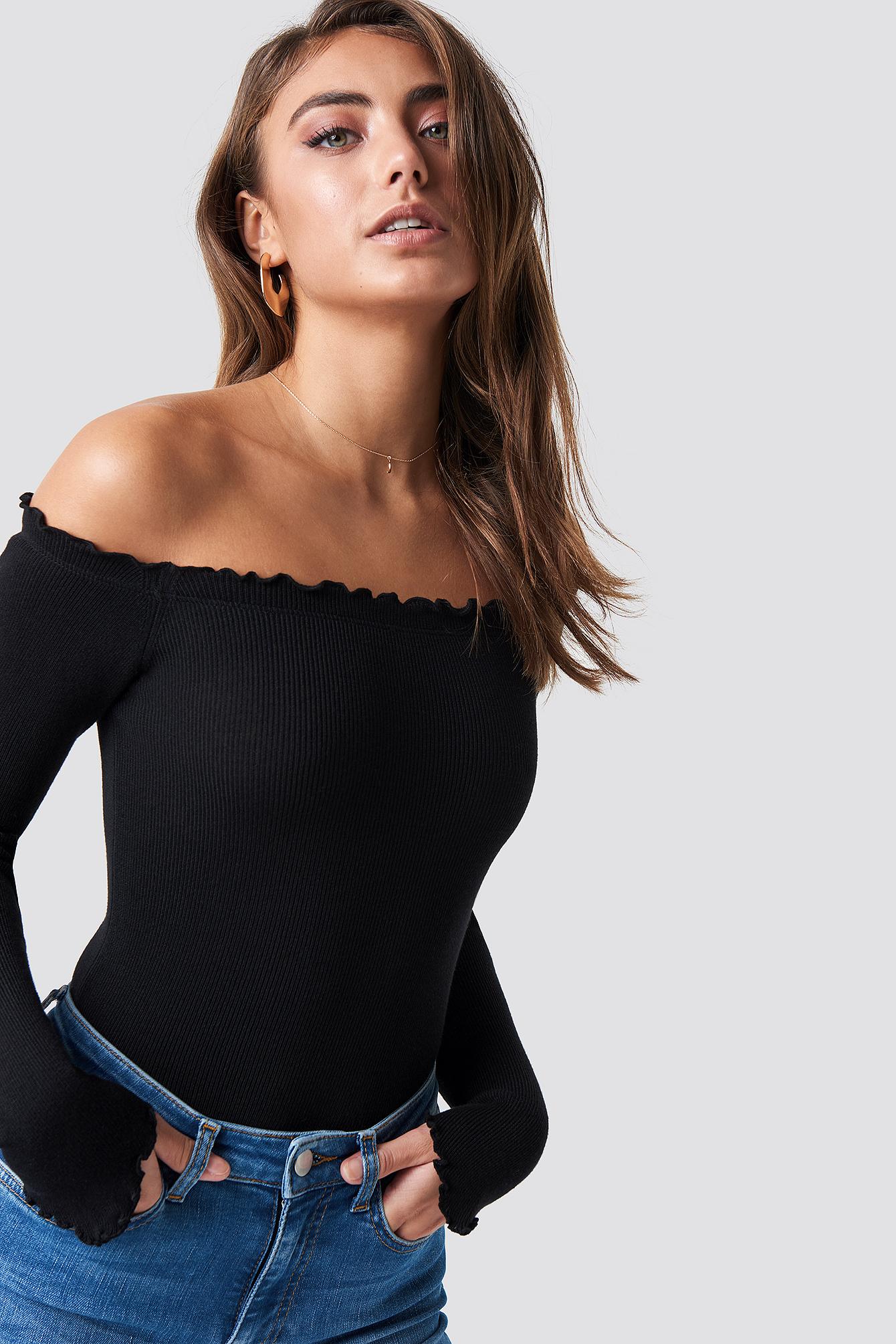 pamela x na-kd -  Off Shoulder Light Knit Top - Black