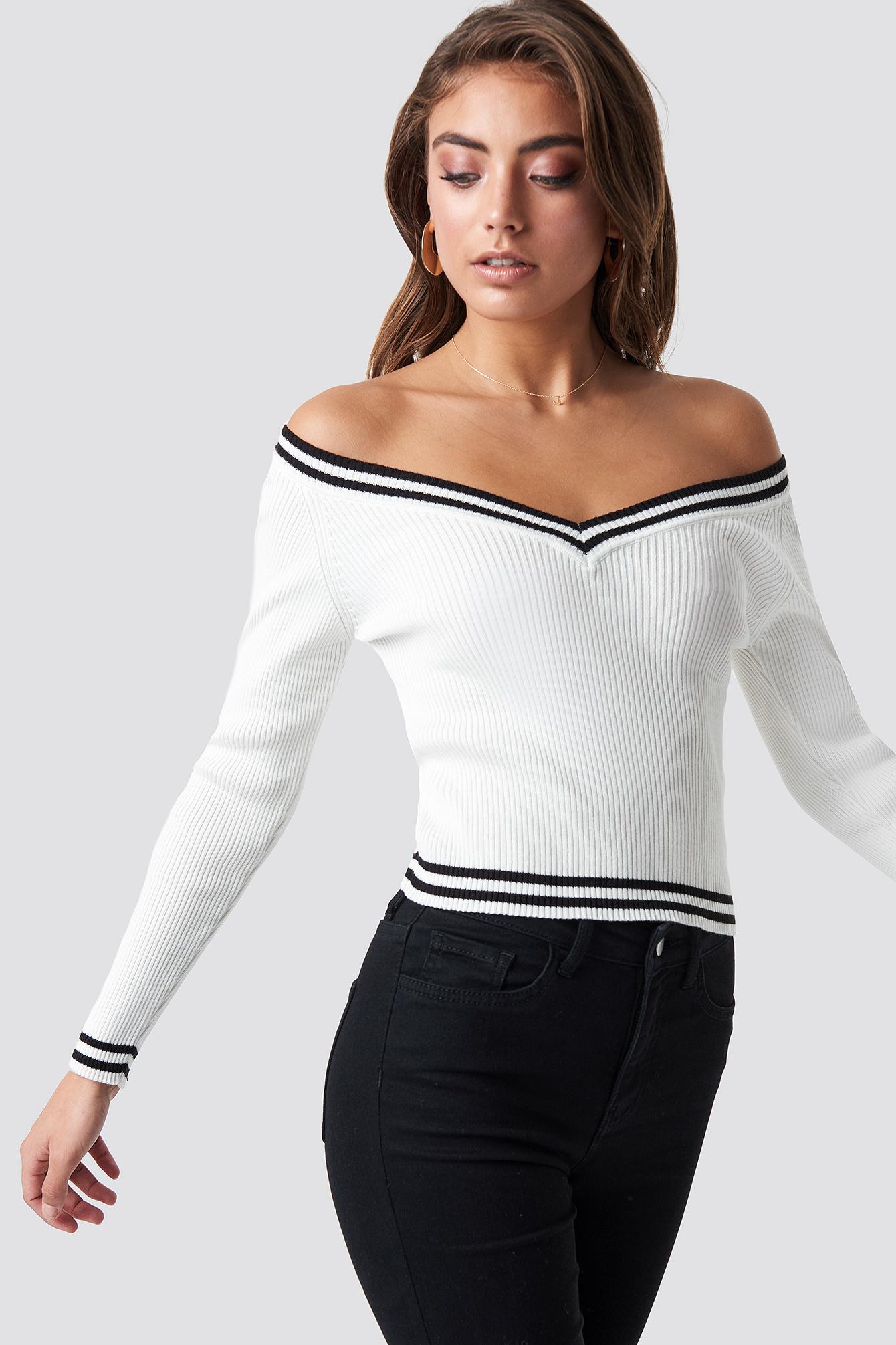 Off Shoulder Knitted Stripe Sweater NA-KD.COM